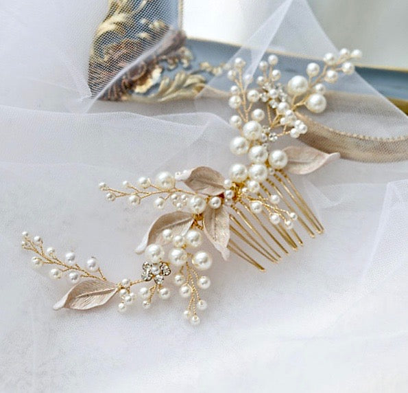 """Chandra"" - Gold Pearl Bridal Hair Comb"