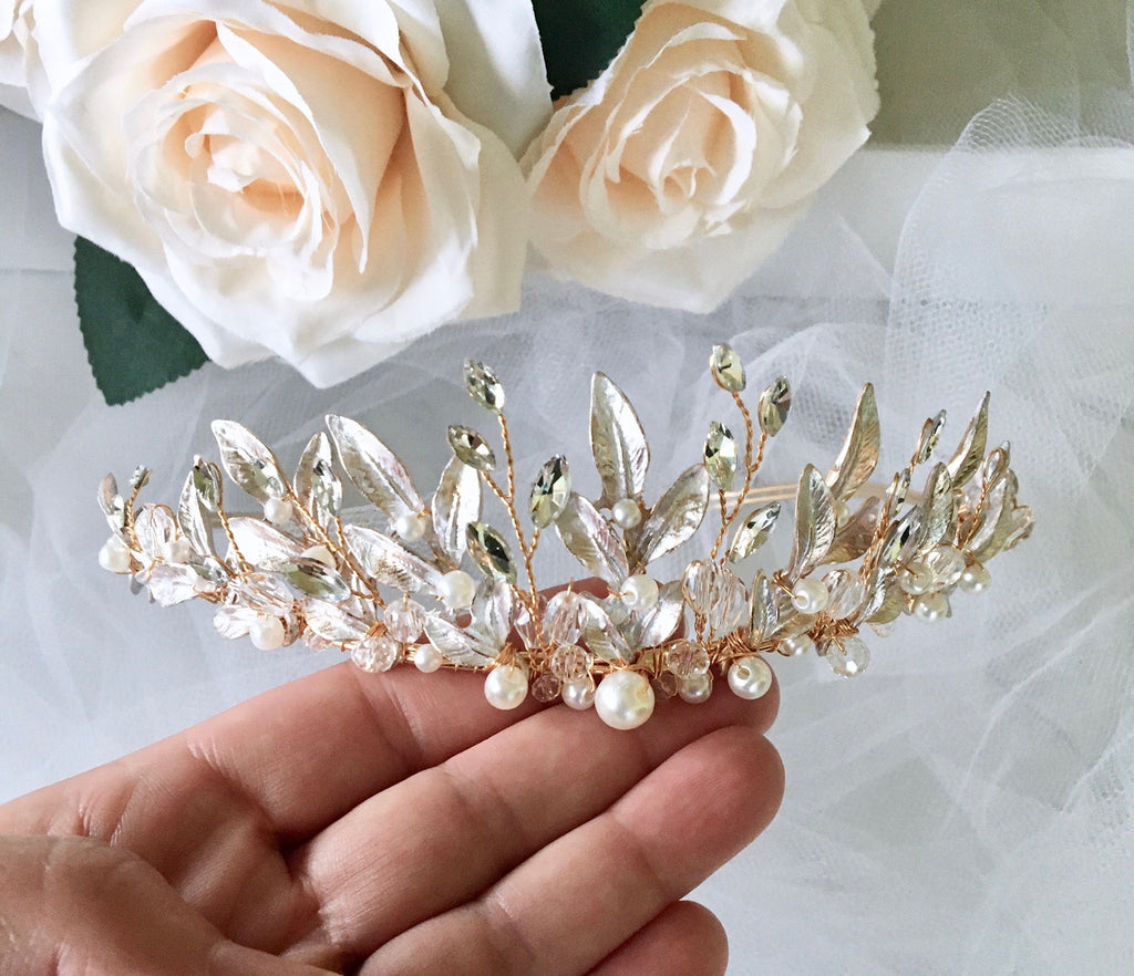 Wedding Hair Accessories - Bohemian Gold Bridal Tiara