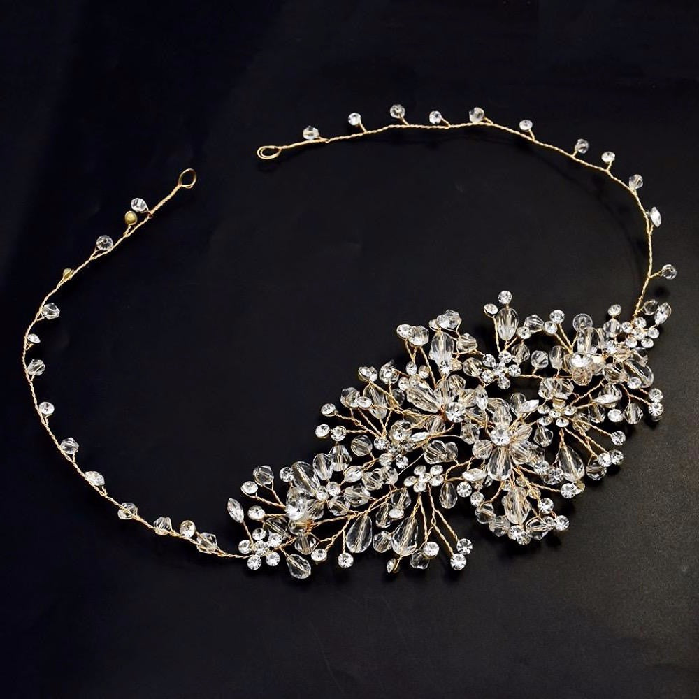 """Alessia"" - Austrian Crystal Bridal Hair Vine - Available in Silver, Rose Gold and Yellow Gold"