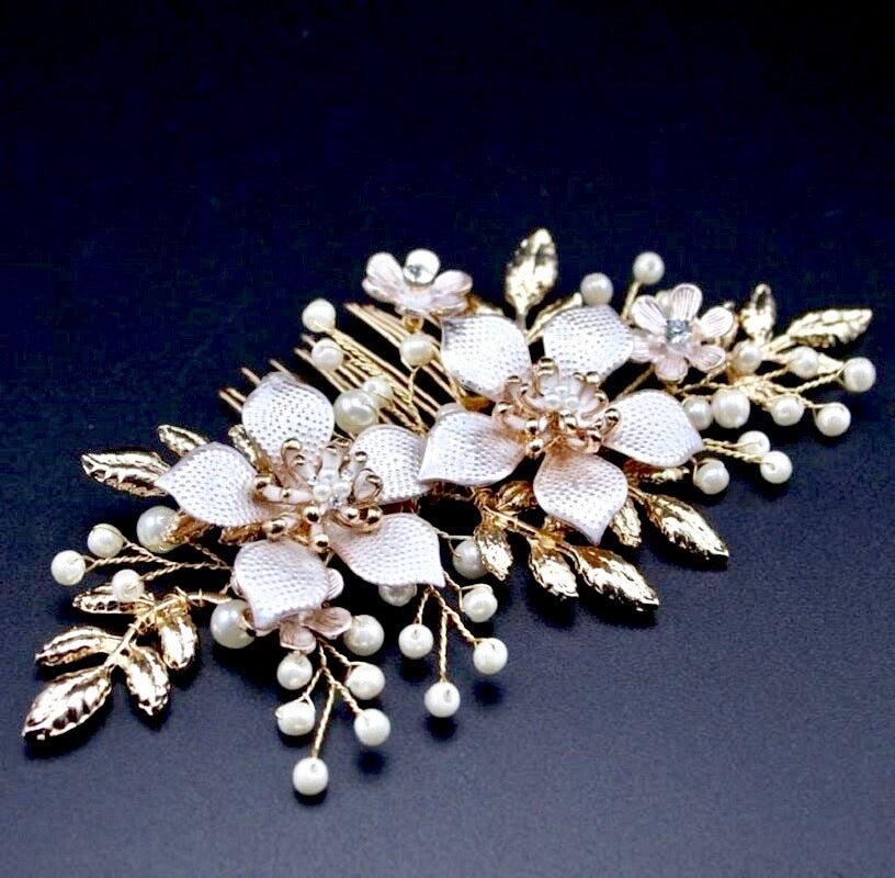 Wedding Hair Accessories - Gold Pearl Bridal Hair Comb