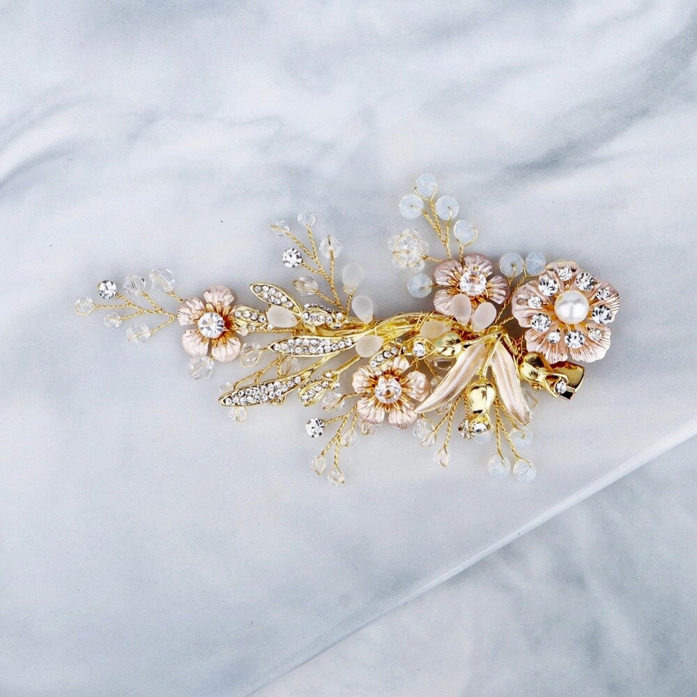 Wedding Hair Accessories - Pearl and Opal Gold Bridal Hair Comb