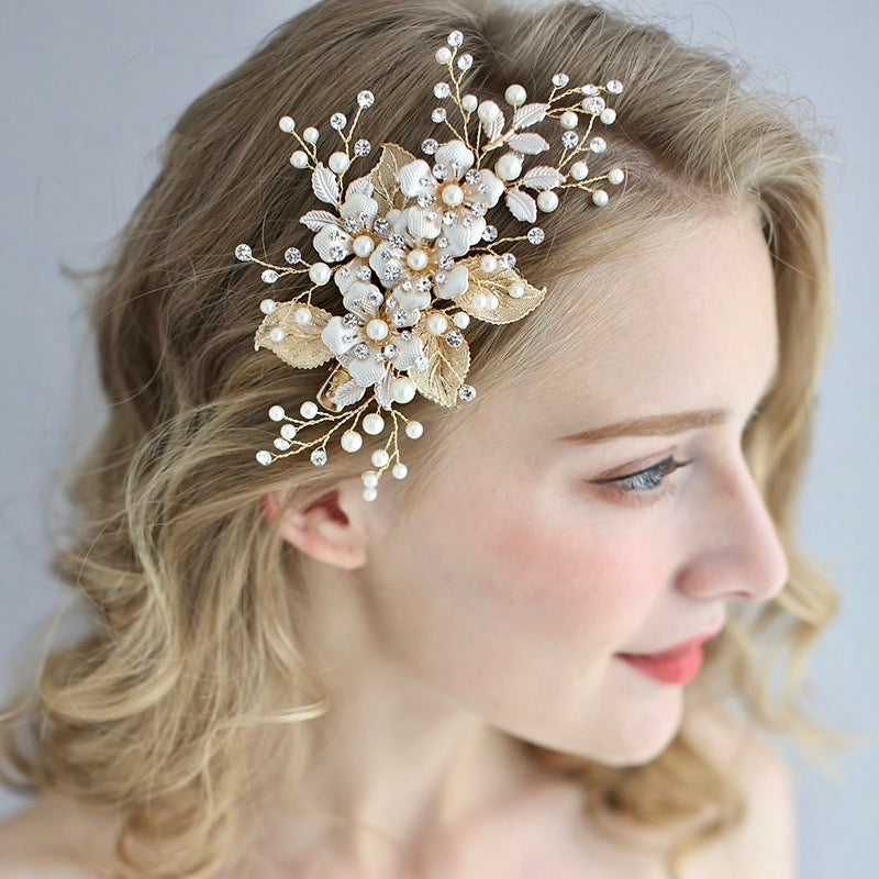 Wedding Hair Accessories - Gold Pearl Bridal Hair Clip