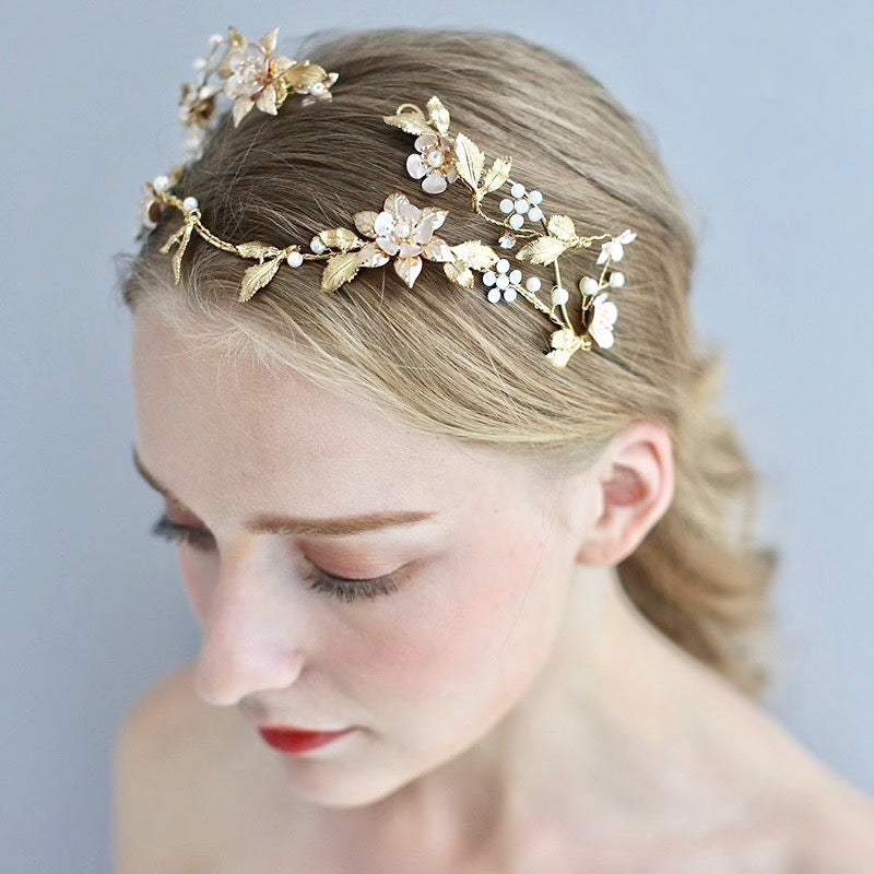Wedding Hair Accessories - Gold Pearl and Crystal Bridal Headband / Tiara