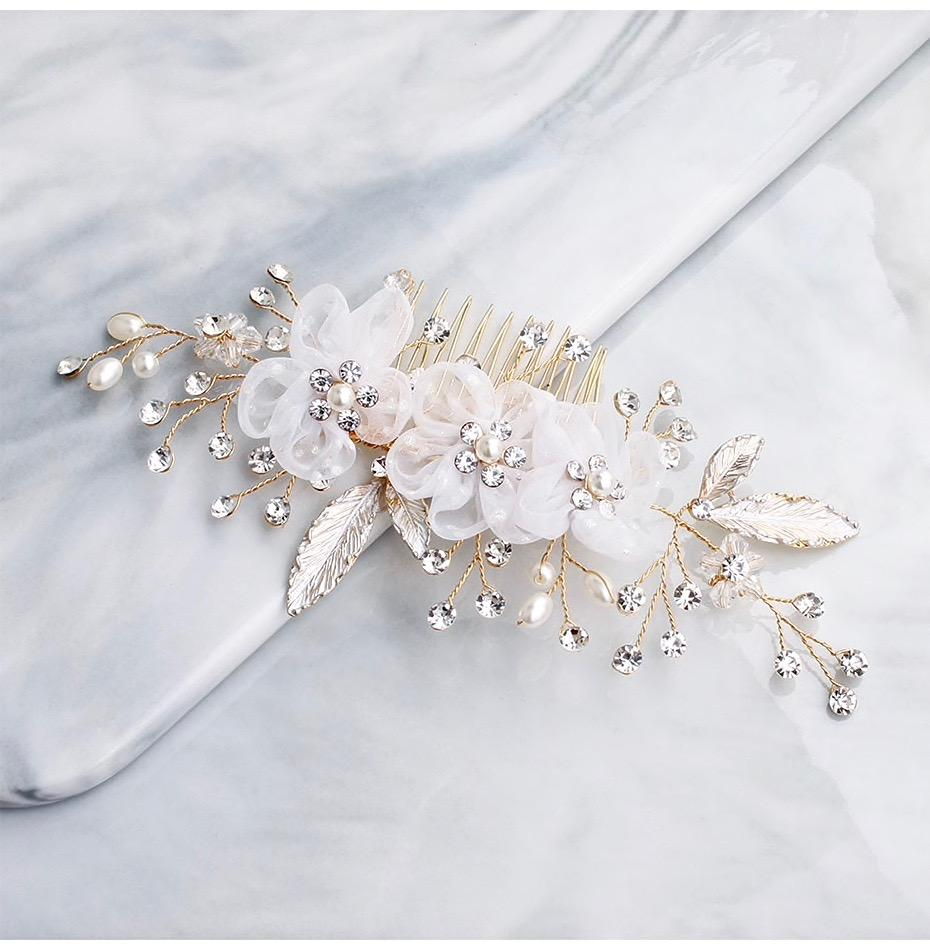 Wedding Hair Accessories - Gold Pearl and Crystal Bridal Hair Comb