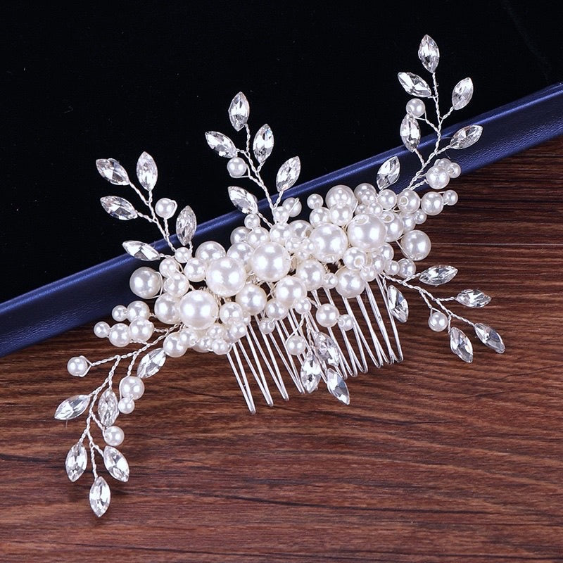 """Louisa"" - Silver Pearl and Crystal Bridal Hair Comb"