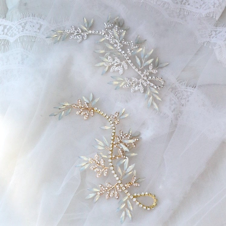"""Endora"" -  Opal Bridal Hair Accessory - Available in Silver and Gold"