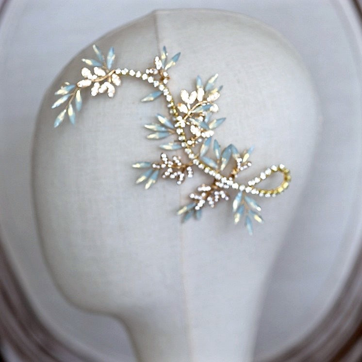 Wedding Hair Accessories -  Opal Bridal Hair Vine - Available in Silver and Gold