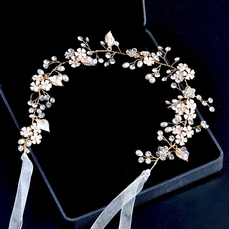 """Angelina"" - Rose Gold Pearl and Crystal Bridal Headband"