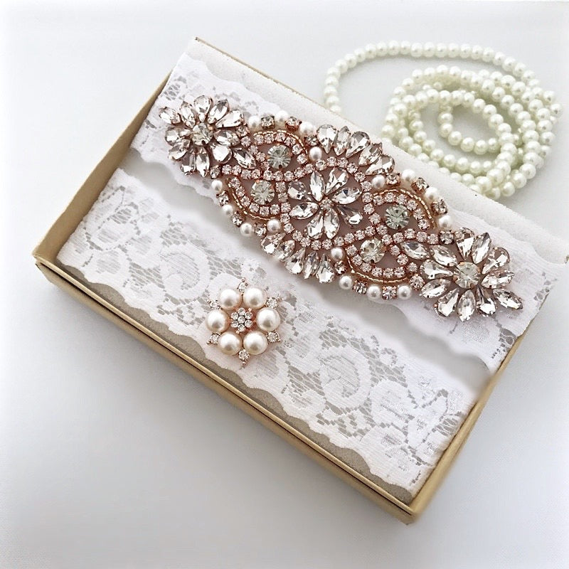 """Rosalind"" - Rose Gold Bridal Garter Set"