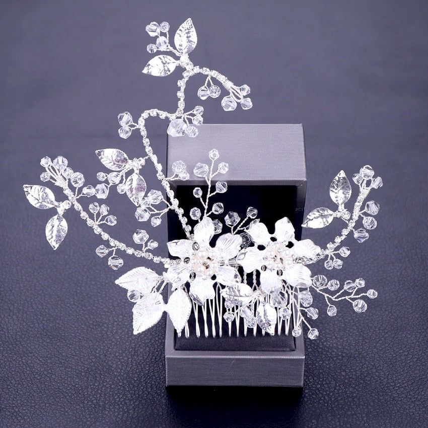 """Kara"" - Pearl and Crystal Bridal Hair Comb - Available in Gold and Silver"