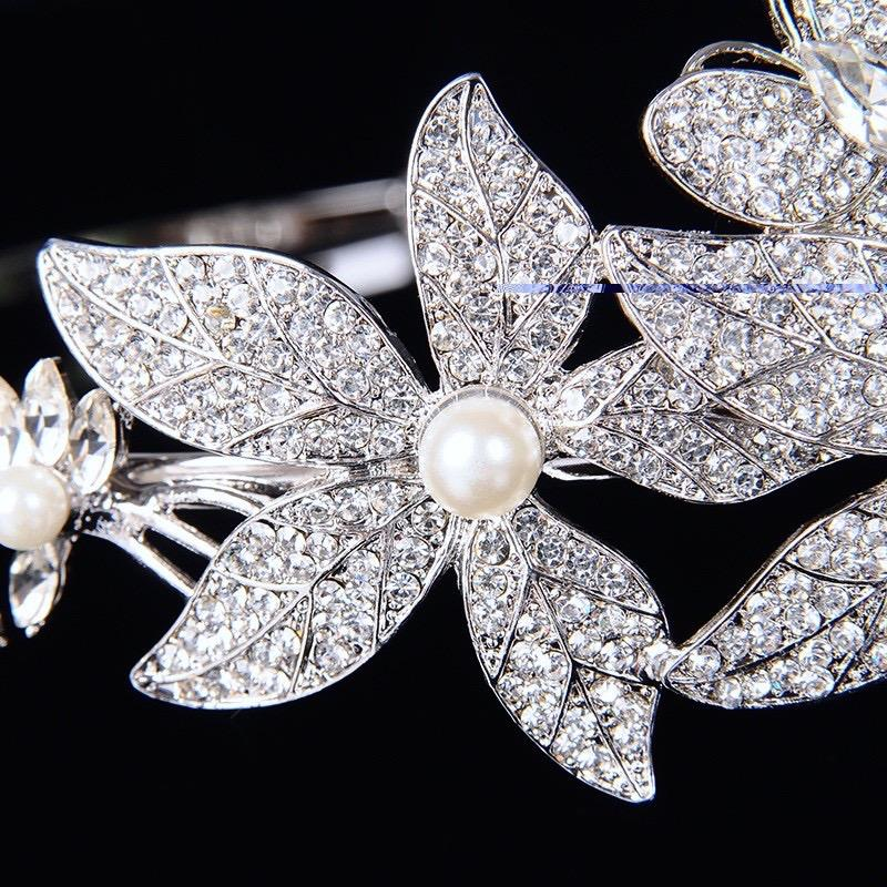 Wedding Hair Accessories - Silver Pearl and Crystal Bridal Side-Headband/Tiara