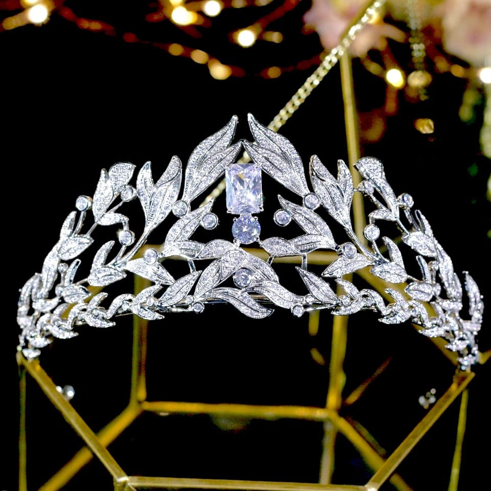 Wedding Hair Accessories - Micro-Pave Cubic Zirconia Bridal Tiara