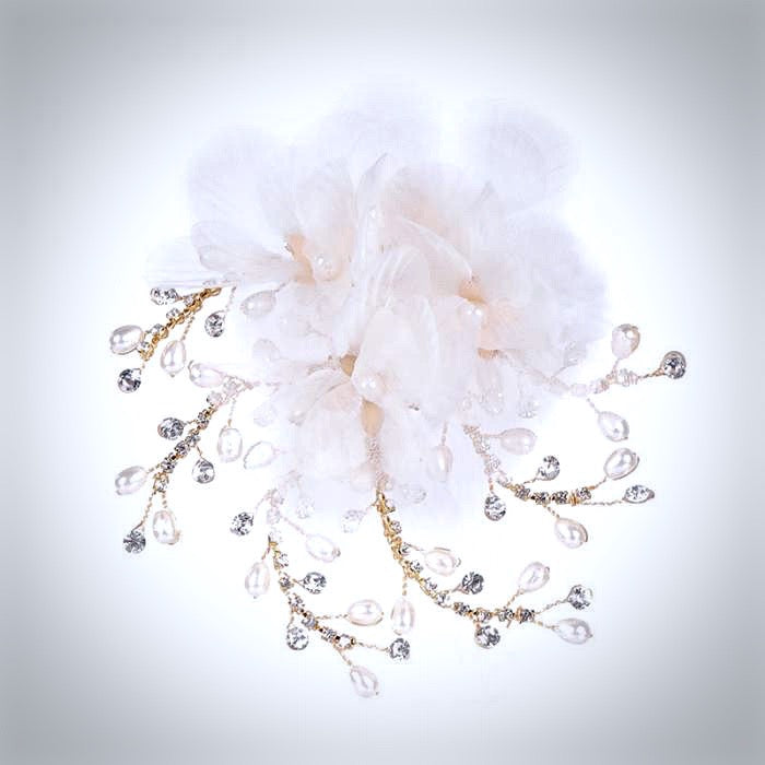 """Luciana"" - Gold Pearl and Crystal Bridal Hair Clip"