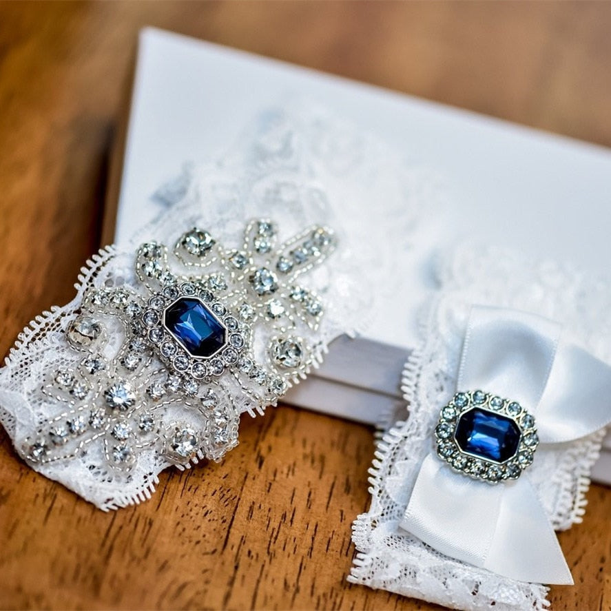 """Ashley"" - Blue Crystal Bridal Garter Set"