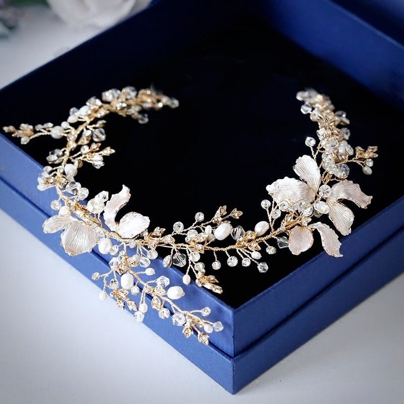 """Athena"" - Pearl and Crystal Bridal Headband - Available in Gold and Silver"