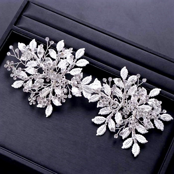 """Selina"" - Silver Crystal Bridal Hair Accessory"