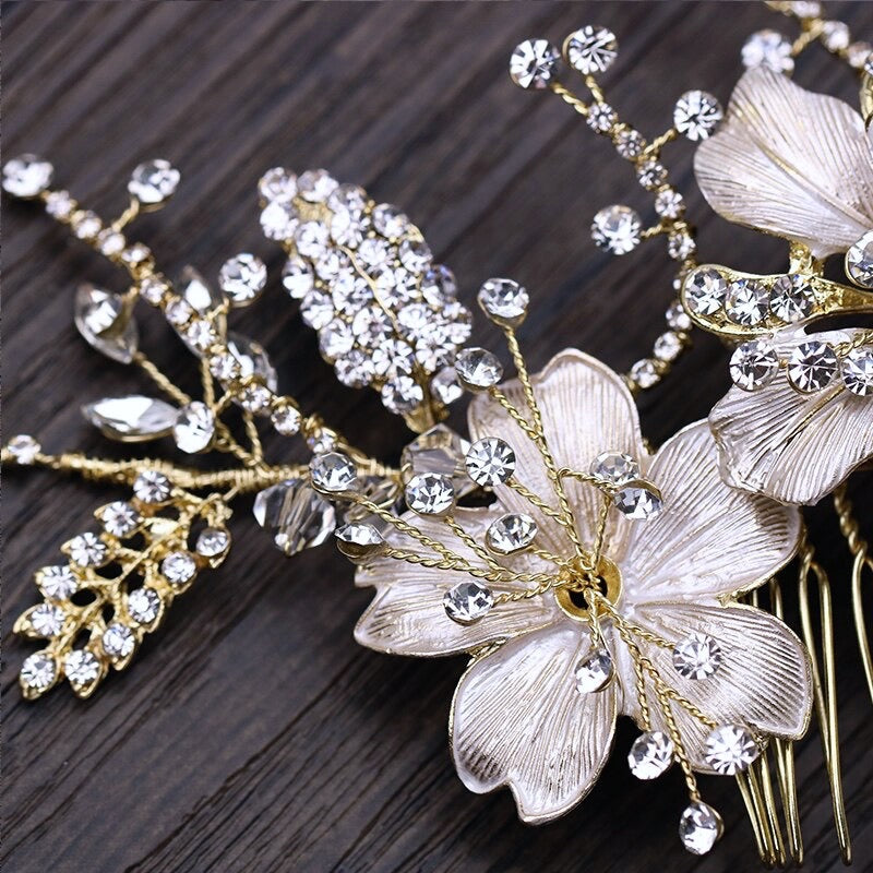 """Claudia"" - Pearl and Crystal Bridal Hair Comb - Available in Gold and Silver"