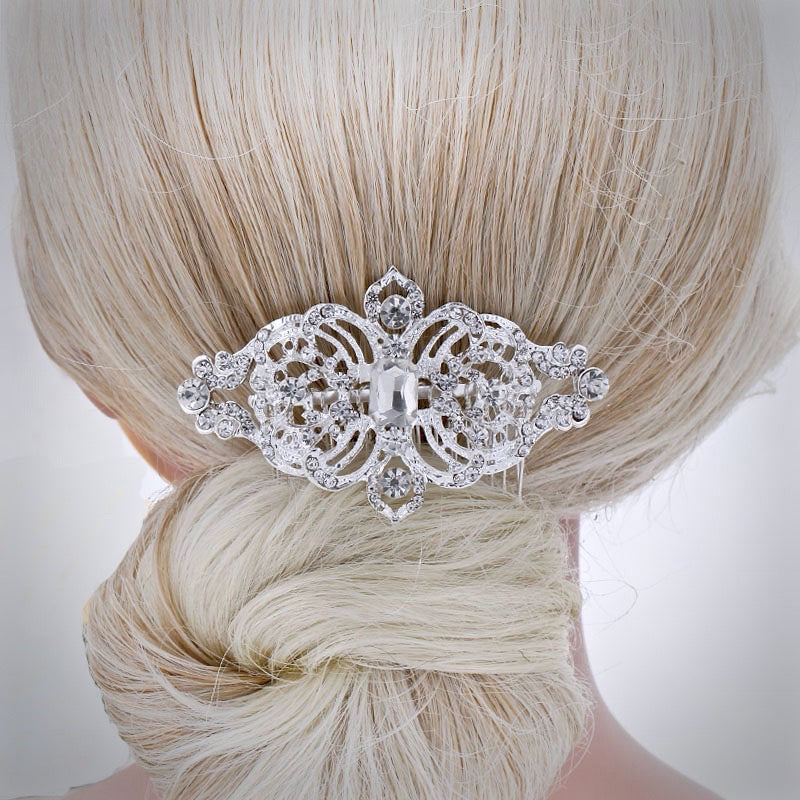 """Tanya"" - Vintage Crystal Bridal Hair Comb"