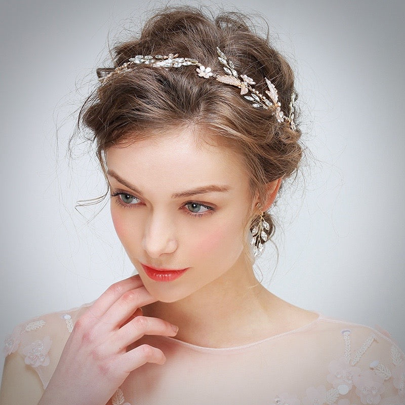 Wedding Hair Accessories - Rose Gold Bridal Headband/Hair Vine With Matching Earrings