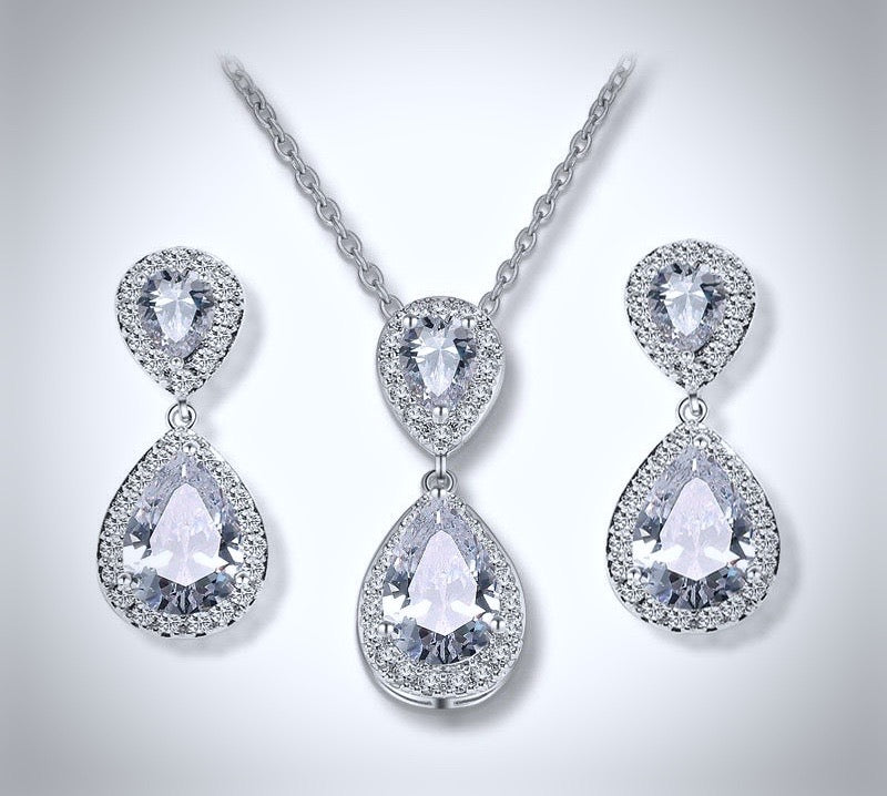 """Renee"" - Cubic Zirconia Bridal Jewelry Set - Available in Silver, Rose Gold and Yellow Gold"