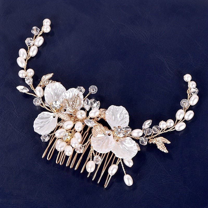 """Alexandra"" - Gold Pearl and Crystal Bridal Hair Comb"