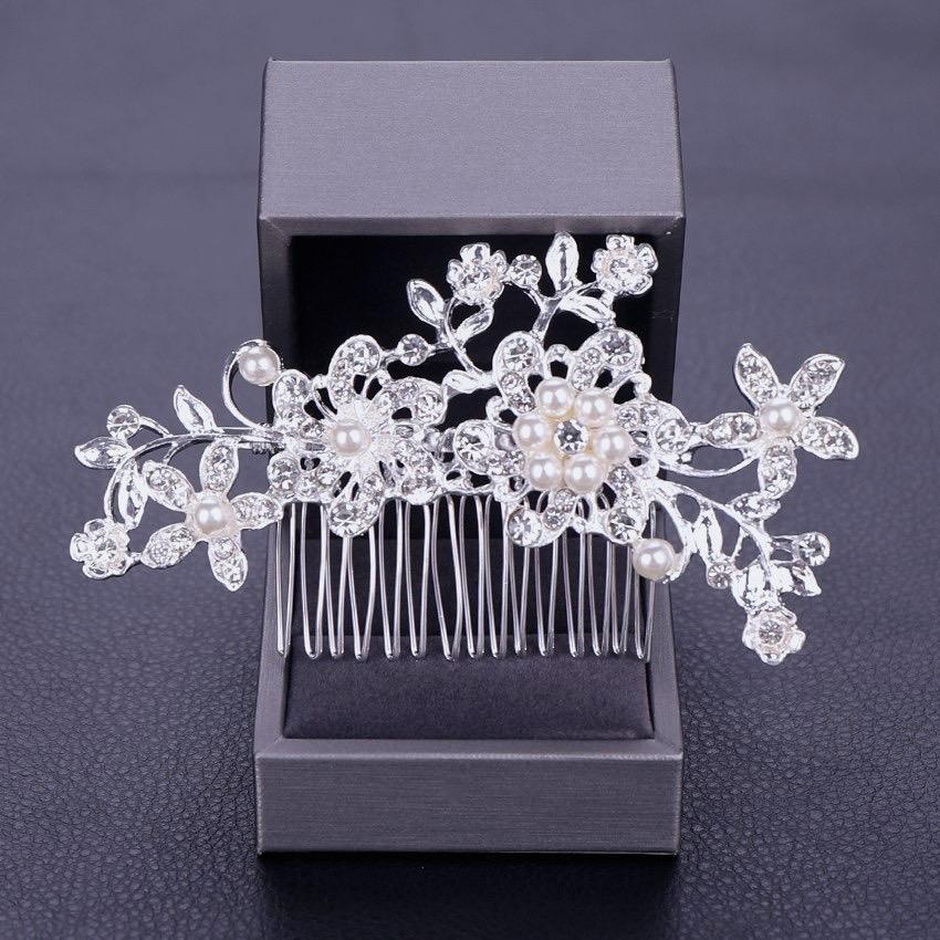 """Hazel"" - Pearl and Crystal Bridal Hair Comb"
