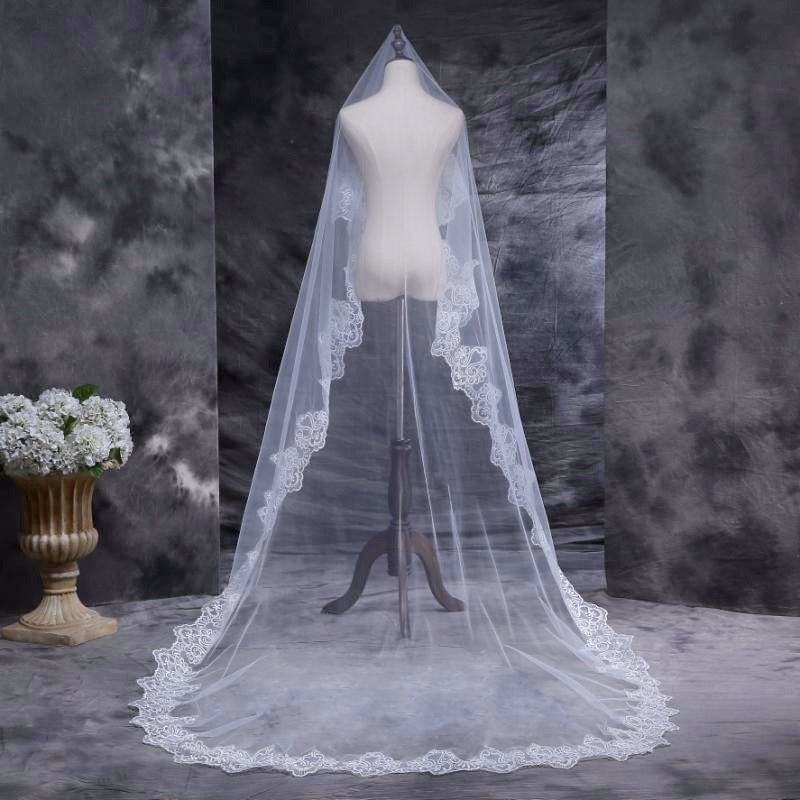 """Leticia"" - Lace Edge Cathedral Bridal Veil"