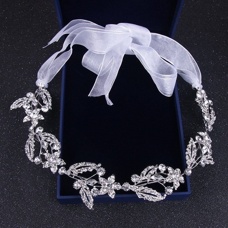 """Lauren"" - Silver Crystal Bridal Headband"
