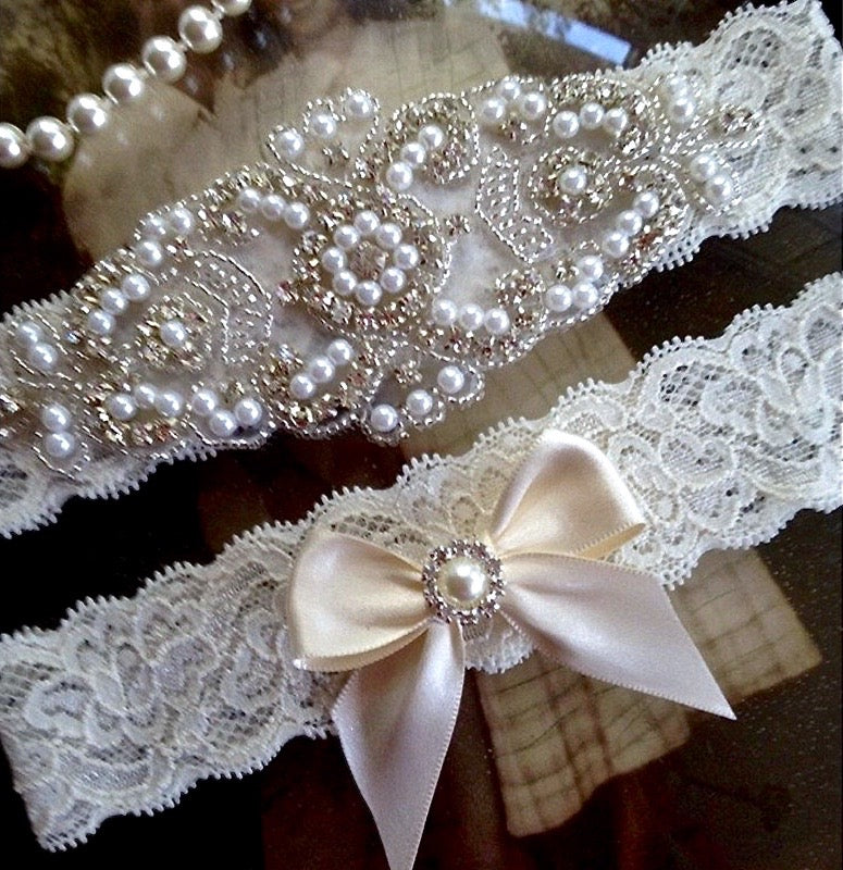 """Kaylee"" - Lace and Crystal Bridal Garter Set"