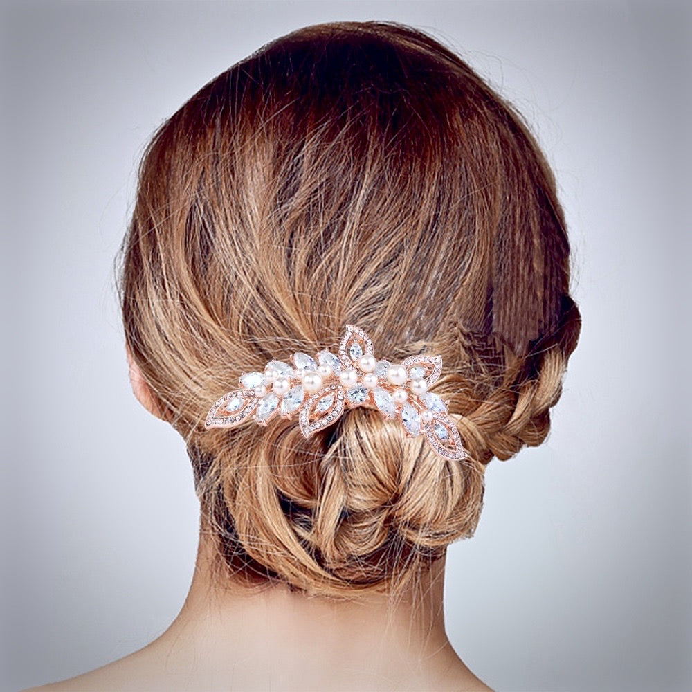 """Cleo"" - Rose Gold Pearl and Crystal Bridal Hair Comb"