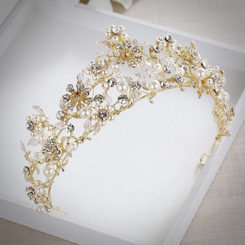 """Estelle"" - Gold Pearl and Cubic Zirconia Bridal Tiara"