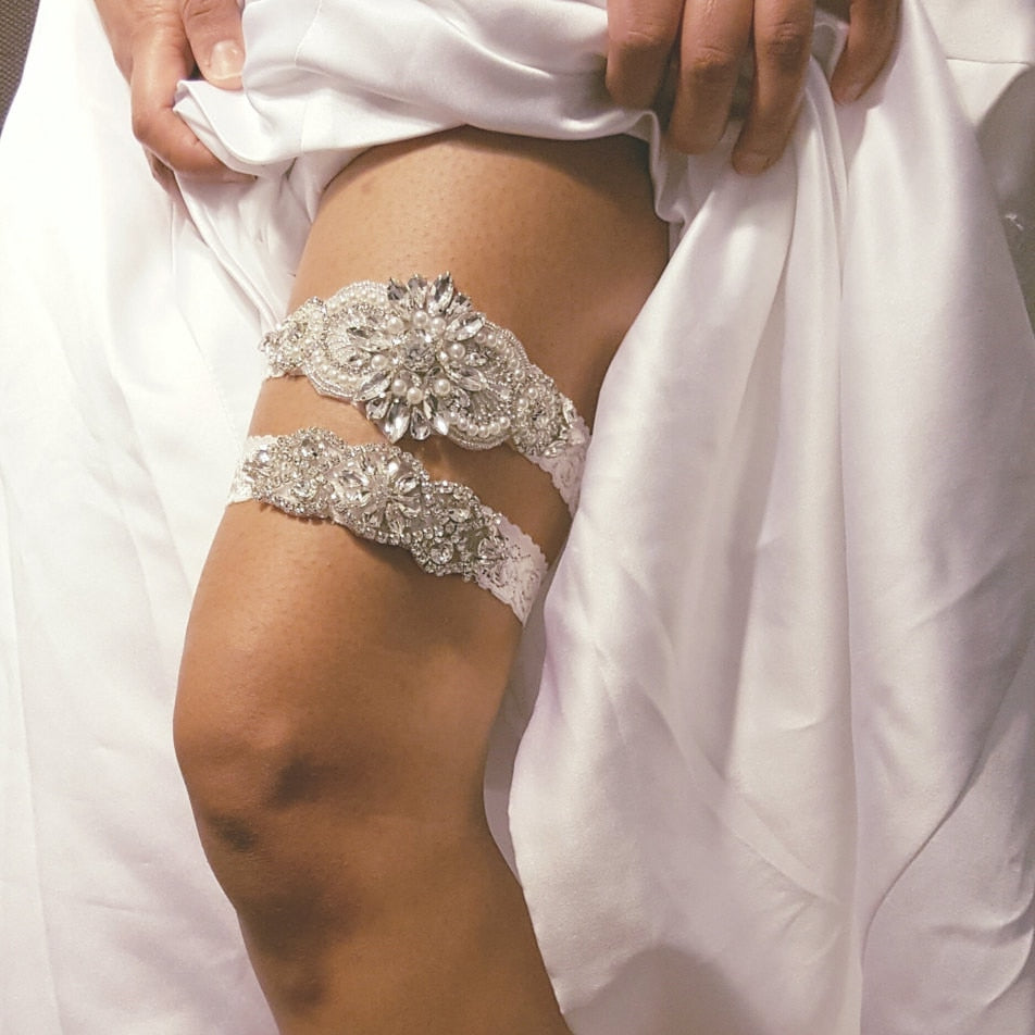 """Sierra"" - Lace and Crystal Bridal Garter Set"