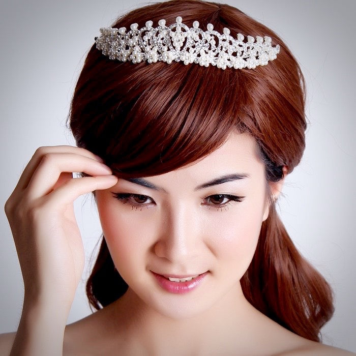 Wedding Pearl Jewelry - Pearl and Cubic Zirconia Bridal Tiara