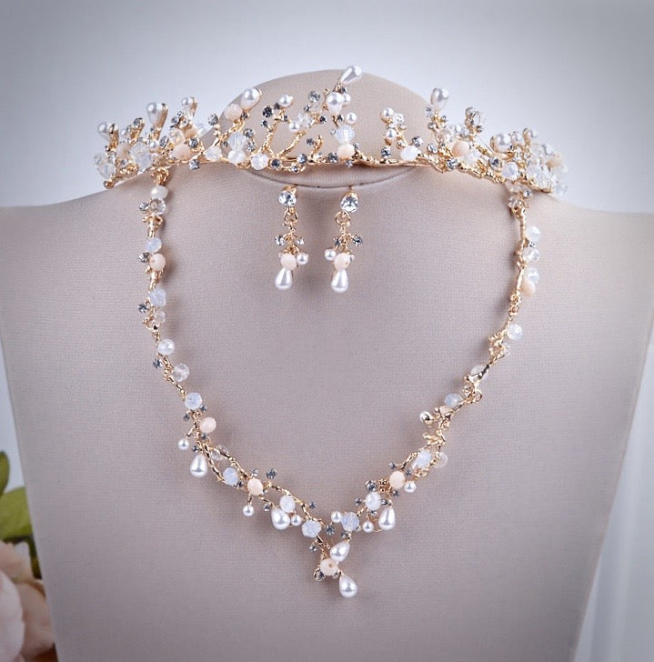 """The Fairy"" - Pearl and Cubic Zirconia Bridal 3-Piece Jewelry Set With Tiara"
