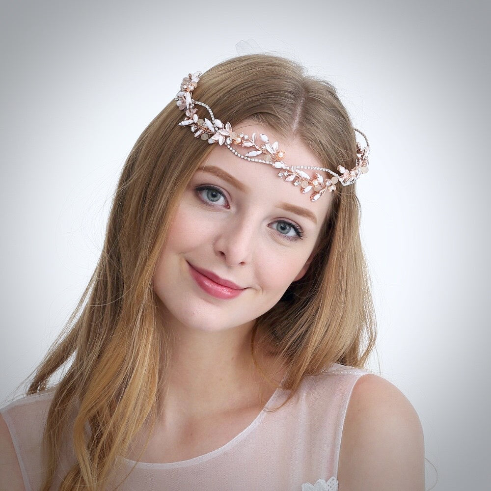 """Erin"" - Rose Gold Pearl and Crystal Bridal Headband"