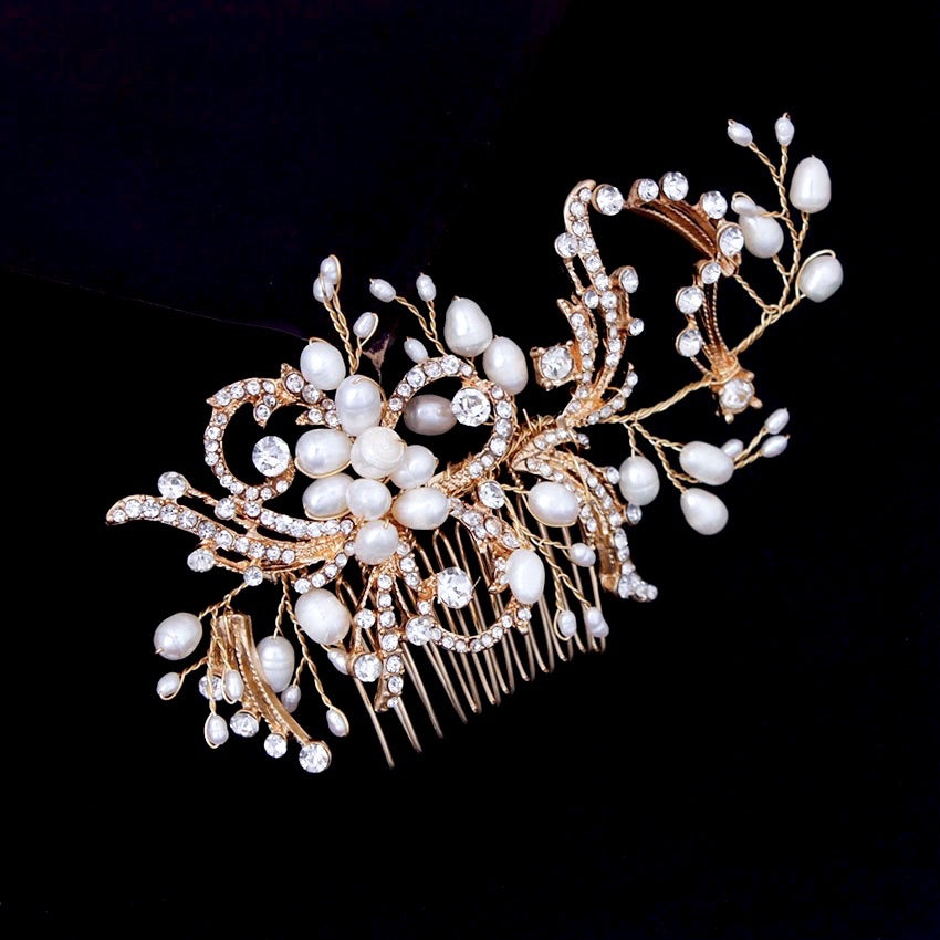 """Samantha"" - Pearl and Crystal Bridal Hair Comb - Available in Silver and Gold"
