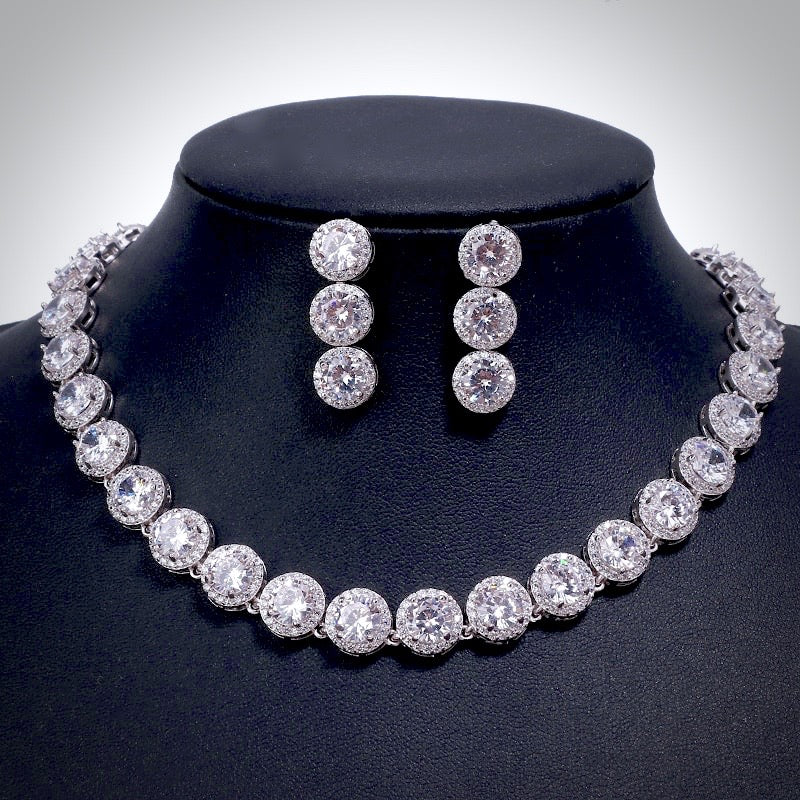 Wedding Jewelry - Silver Cubic Zirconia Bridal Jewelry Set