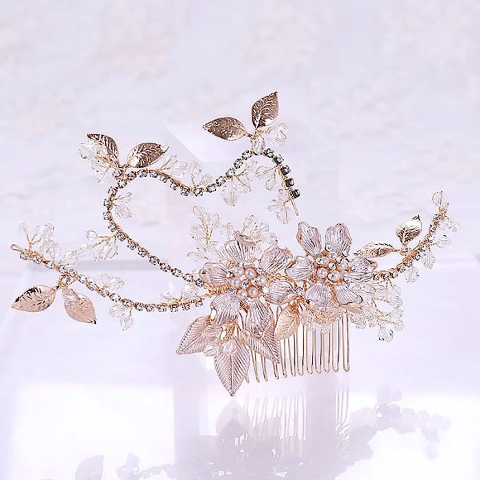 """Kara"" - Gold Pearl and Crystal Bridal Hair Comb"