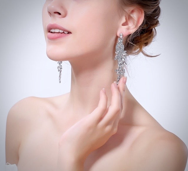 """Leona"" - Silver Crystal Bridal Earrings"