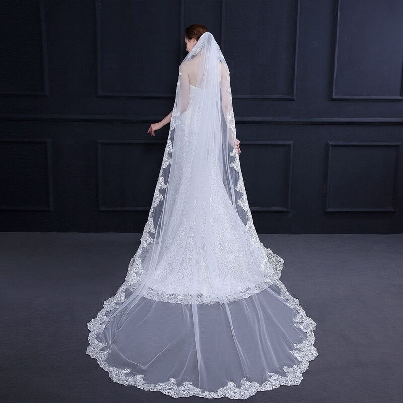 """Natalia"" - Lace Edge Ivory Cathedral Bridal Veil"