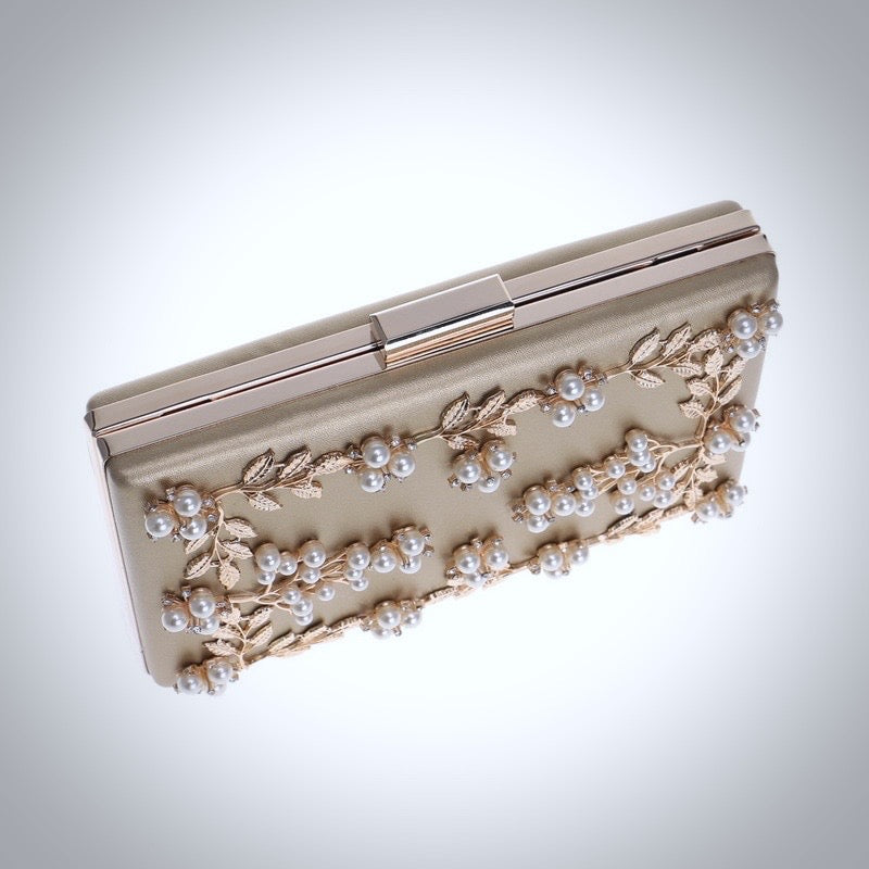 """Angela"" - Champagne Bridal Handbag Clutch"