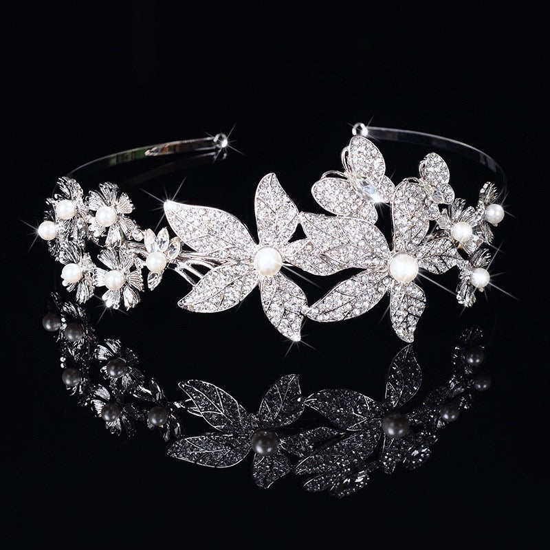 """Aleah"" - Silver Pearl and Crystal Bridal Side Tiara Headband"