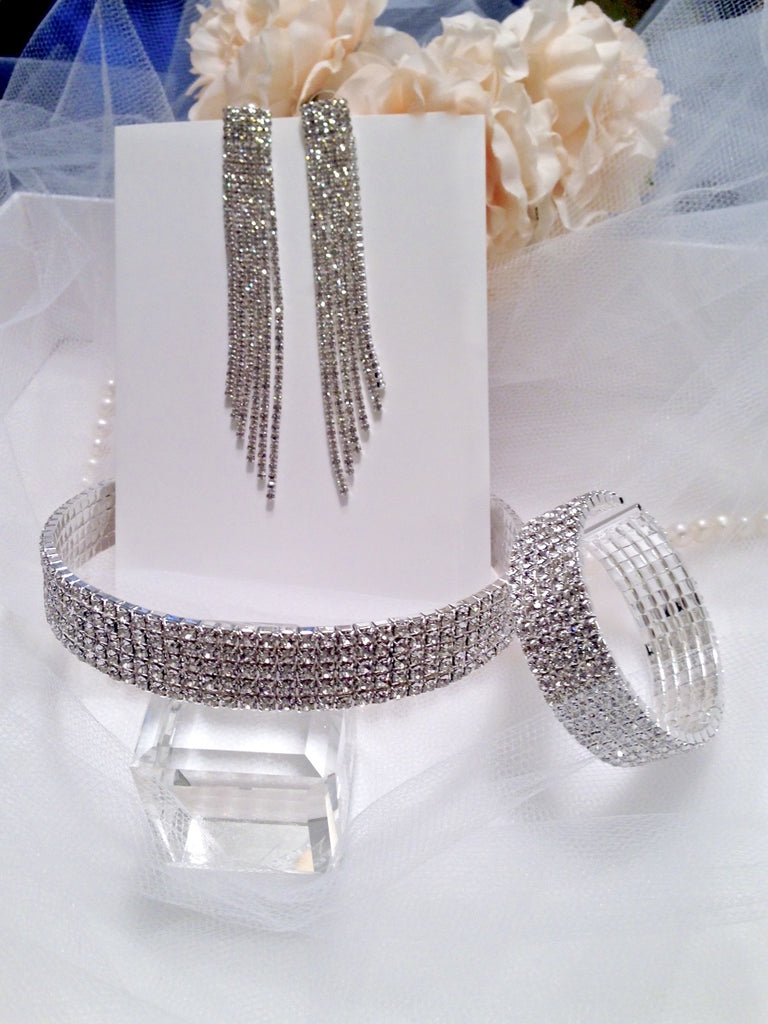 """Melissa"" - Silver Rhinestone Three-Piece Bridal Jewelry Set"