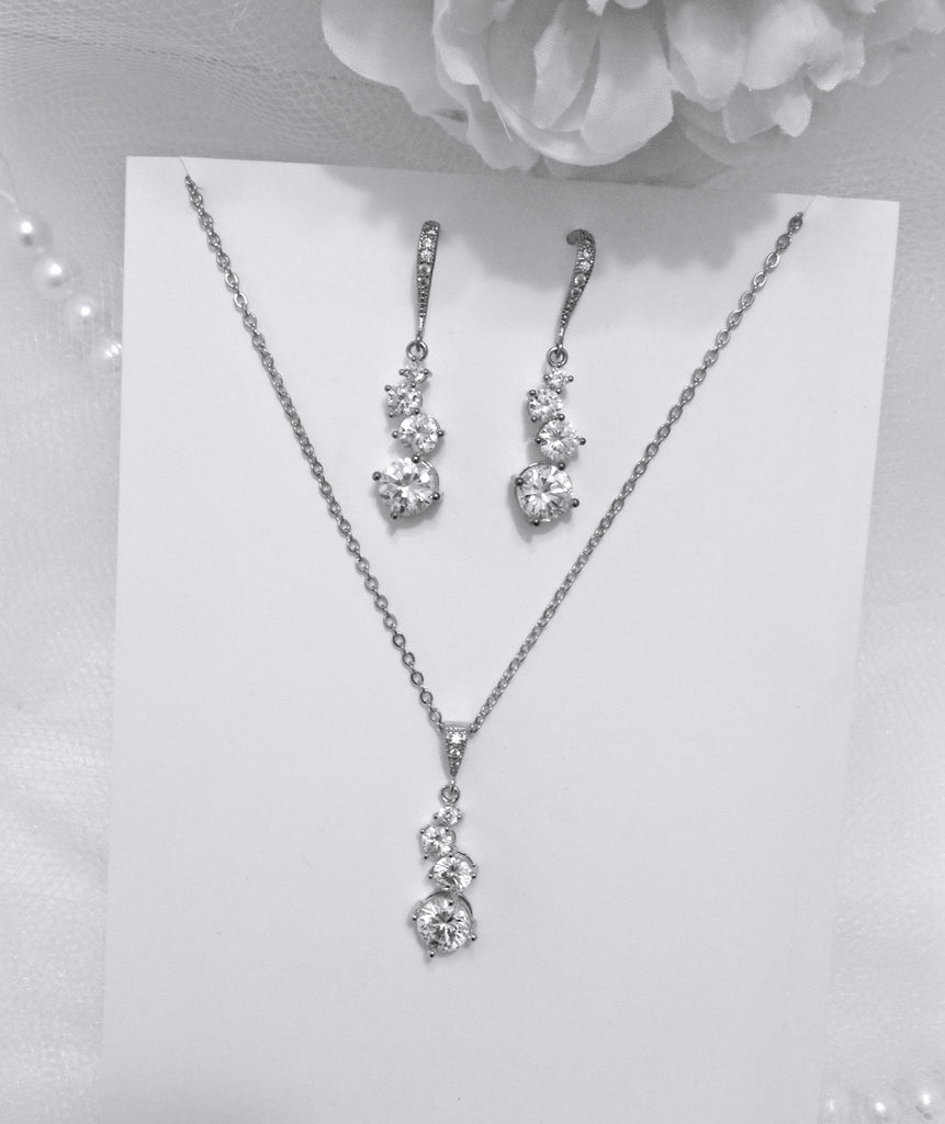 """Stella"" - Bridal Necklace and Earrings Set - Available in Rose Gold and Silver"