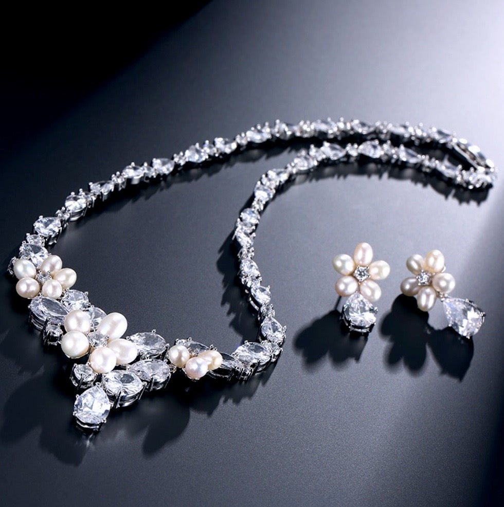 """Eloise"" - Freshwater Pearl and Cubic Zirconia Bridal Necklace and Earrings Set"