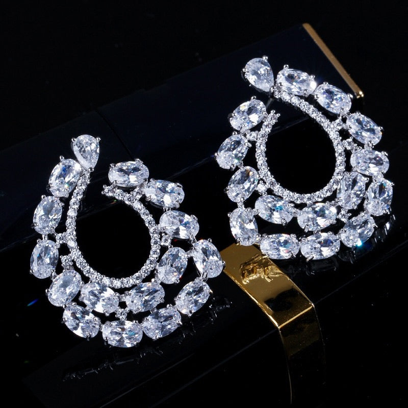 """Kerrie"" - Silver Cubic Zirconia Bridal Earrings"