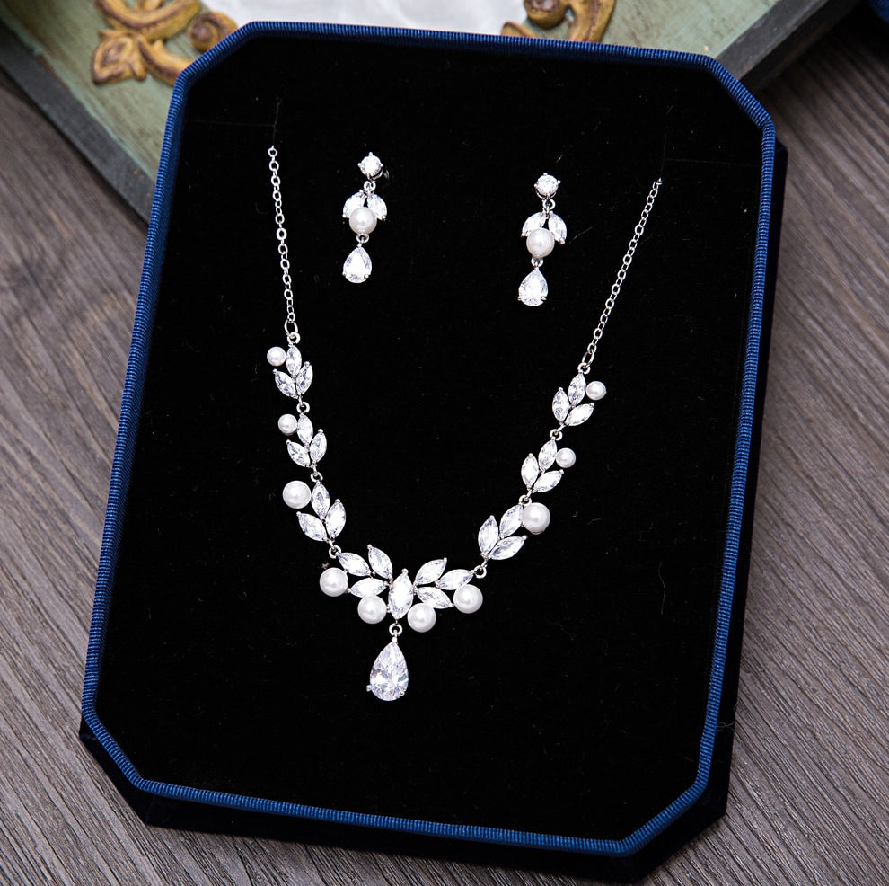 Wedding Jewelry - Silver Cubic Zirconia and Pearl Bridal Jewelry Set
