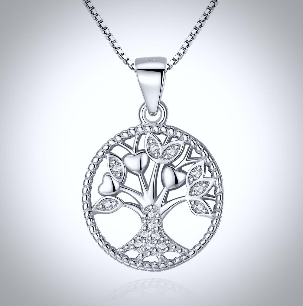 """Tree of Life"" - Sterling Silver and Cubic Zirconia Necklace"