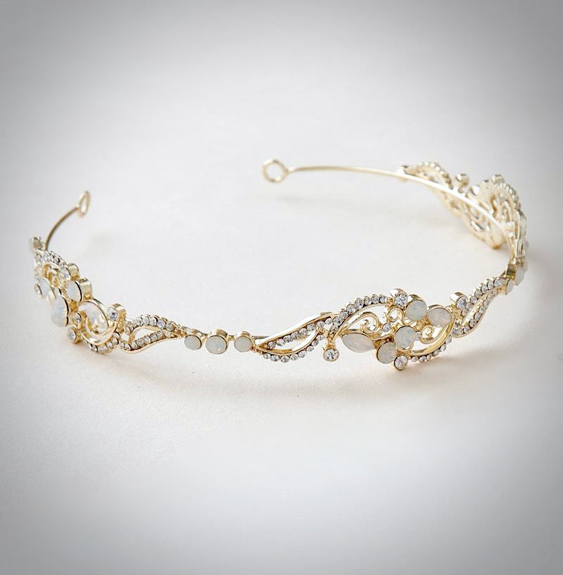Wedding Hair Accessories - Swarovski Opal Bridal Headband - Available in Rose Gold and Yellow Gold