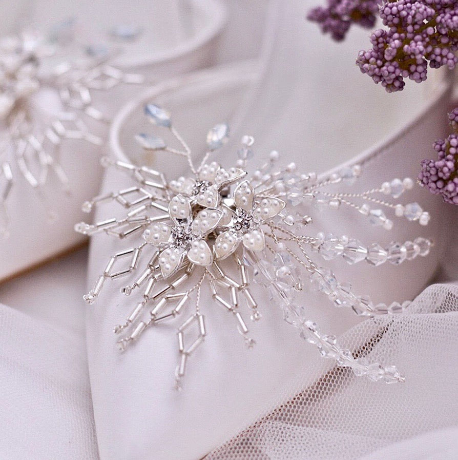 Wedding Accessories - Opal and Pearl Silver Bridal Shoe Clips